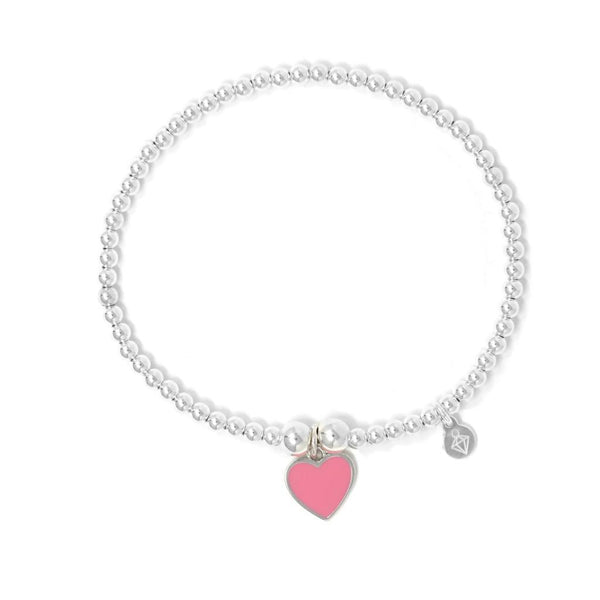 Rockabye Baby Pink Heart Charm Ball Bracelet - Sterling Silver - Baby/Junior - SayItWithDiamonds.com