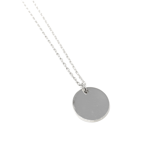 Single Circle Token Necklace - Sterling Silver - SayItWithDiamonds.com