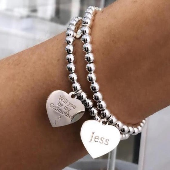 Single Sterling Silver Ball Bracelet with Heart Token - Free Engraving - SayItWithDiamonds.com