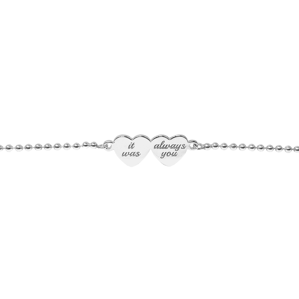 Single Sterling Silver Double Heart Bracelet - SayItWithDiamonds.com