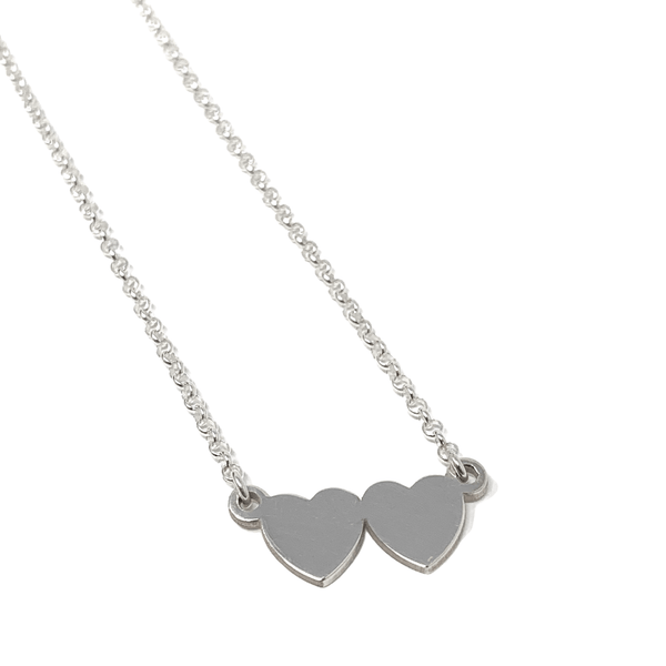 Small Double Heart Necklace - Sterling silver - SayItWithDiamonds.com