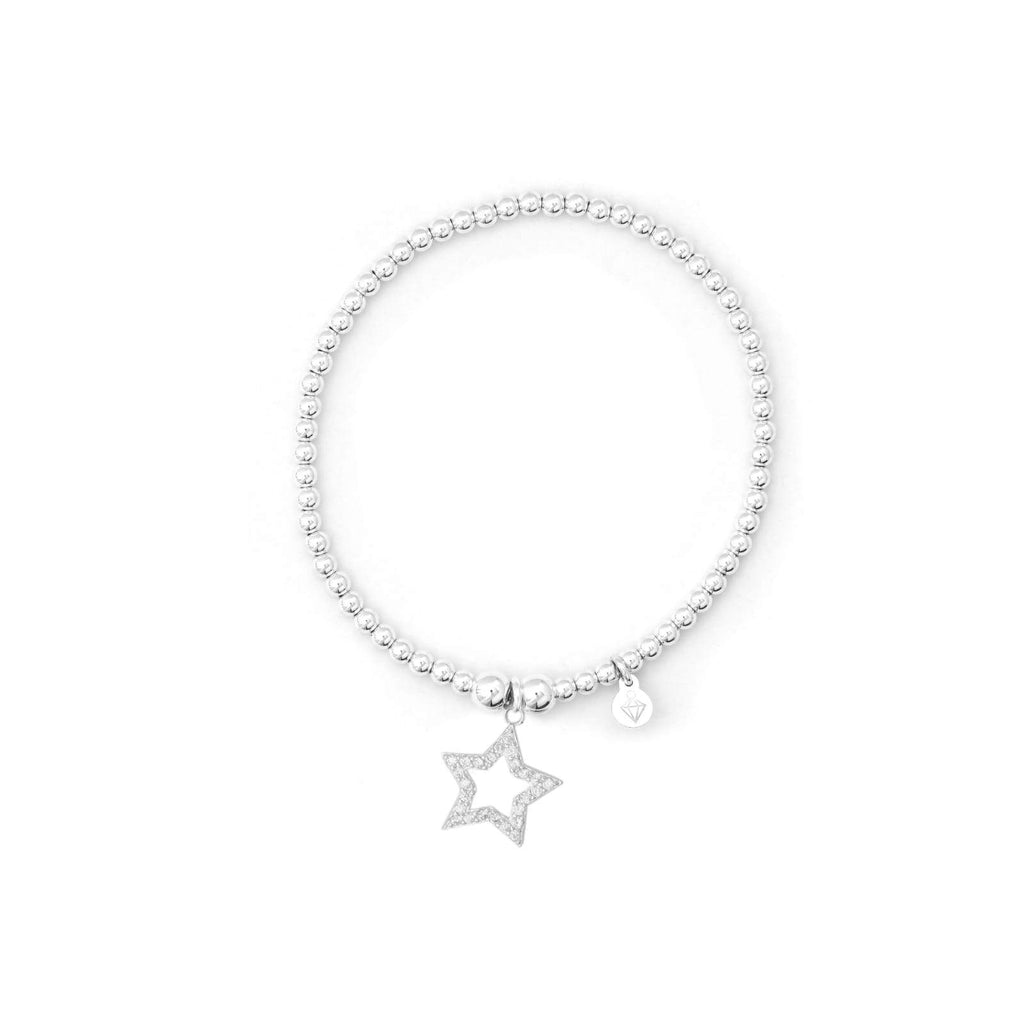 Star Bracelet with CZ Stones - Sterling Silver - SayItWithDiamonds.com