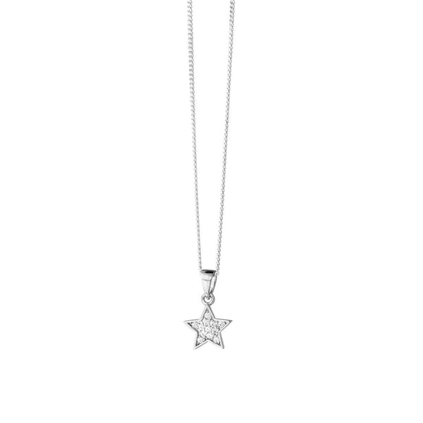 Star Necklace With CZ Stones - Sterling Silver - SayItWithDiamonds.com