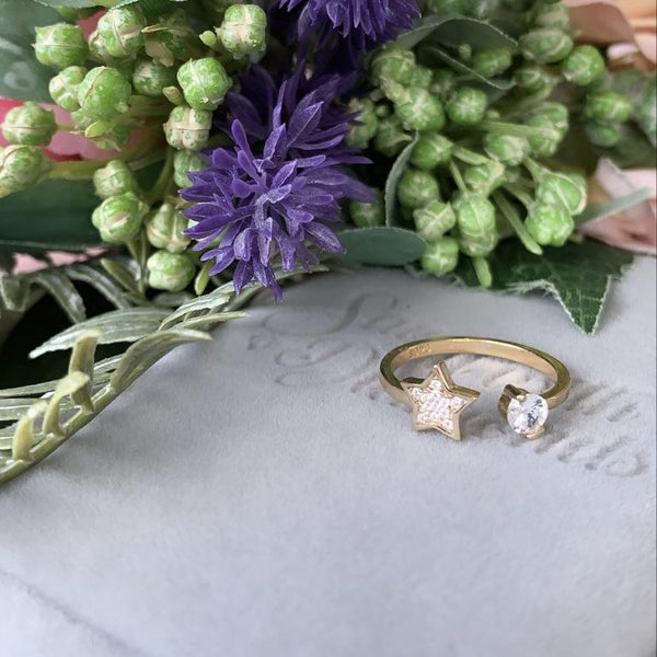 Star of Luck Ring - Sterling Silver 18ct Gold Plated - SayItWithDiamonds.com