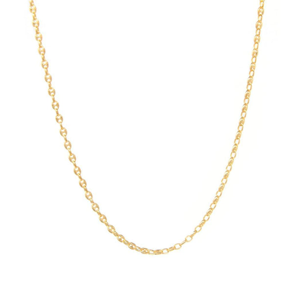 Sterling Silver 16 inch Marine Chain - 18ct Yellow Gold Plated - SayItWithDiamonds.com
