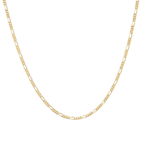 Sterling Silver 18 inch Figaro Chain - 18ct Yellow Gold Plated - SayItWithDiamonds.com