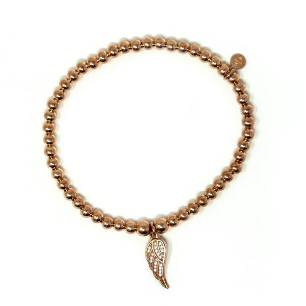 Sterling Silver 18ct Rose Gold Plated - Feather Ball Bracelet with CZ Stones - SayItWithDiamonds.com
