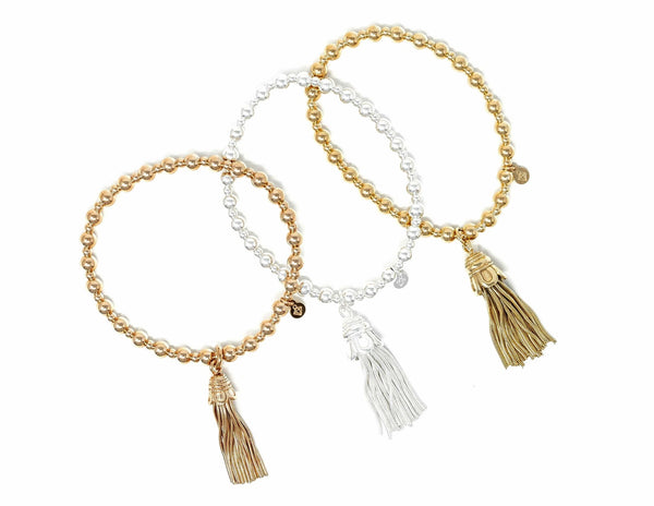 Sterling Silver 18ct Rose Gold Plated - Thin Tassel Bracelet - SayItWithDiamonds.com