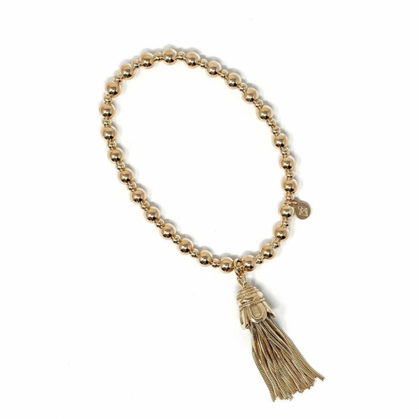 Sterling Silver 18ct Yellow Gold Plated - Thin Tassel Bracelet - SayItWithDiamonds.com