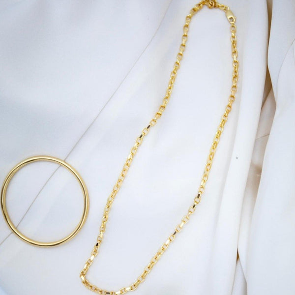 Sterling Silver 24 inch Diamond Cut Belcher Chain - 18ct Yellow Gold Plated - SayItWithDiamonds.com