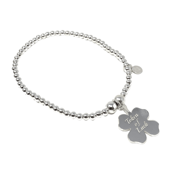 Sterling Silver Ball Bracelet with Clover Charm - SayItWithDiamonds.com