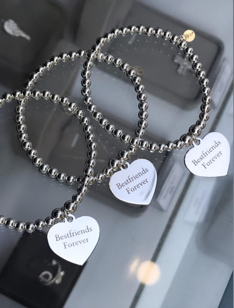 Sterling Silver Ball Bracelet with Heart Token - Baby/Junior - Free Engraving - SayItWithDiamonds.com