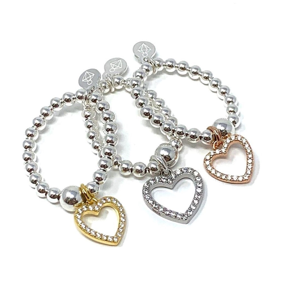 Sterling Silver Ball Ring with CZ Heart Charm - Various Colours - SayItWithDiamonds.com