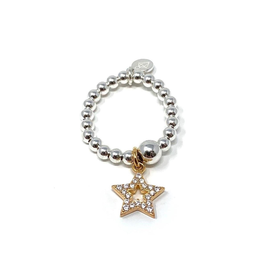 Sterling Silver Ball Ring with CZ Star Charm - Various Colours - SayItWithDiamonds.com