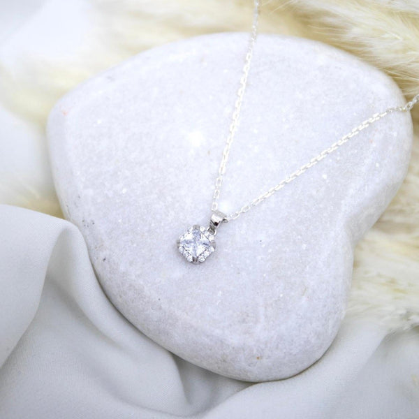 Sterling Silver Cushion Cut Halo Necklace - SayItWithDiamonds.com