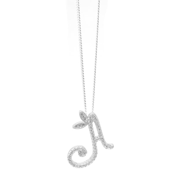 Sterling Silver Fancy Initial Necklace - Full CZ Stones - SayItWithDiamonds.com