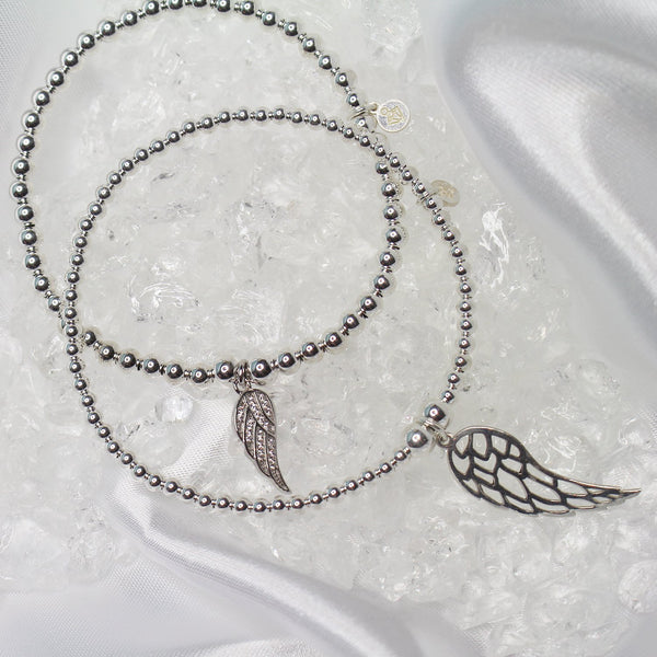 Sterling Silver - Feather Ball Bracelet with CZ Stones - SayItWithDiamonds.com