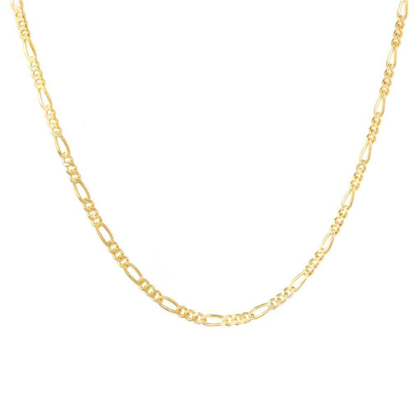 Sterling Silver Figaro Chain - 18ct Yellow Gold Plated - SayItWithDiamonds.com
