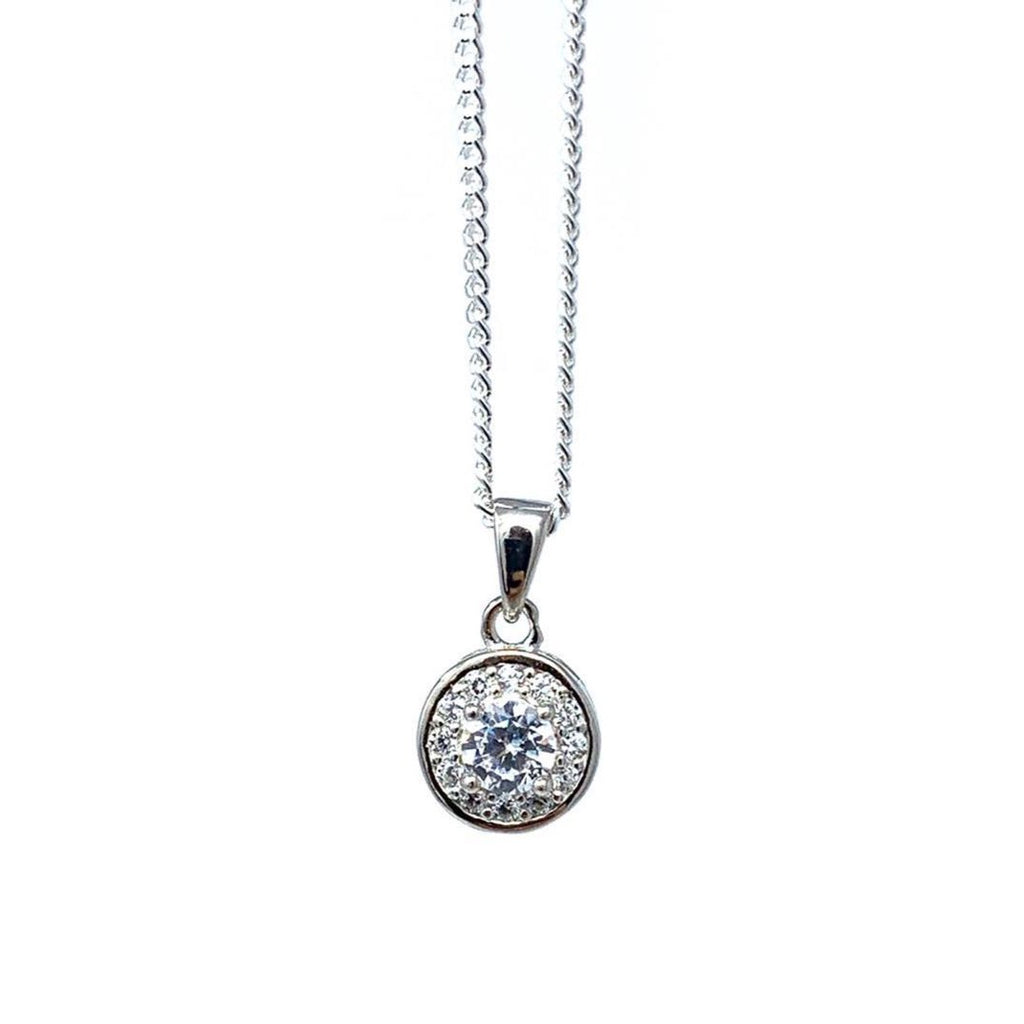 Sterling Silver Halo Pendant - SayItWithDiamonds.com