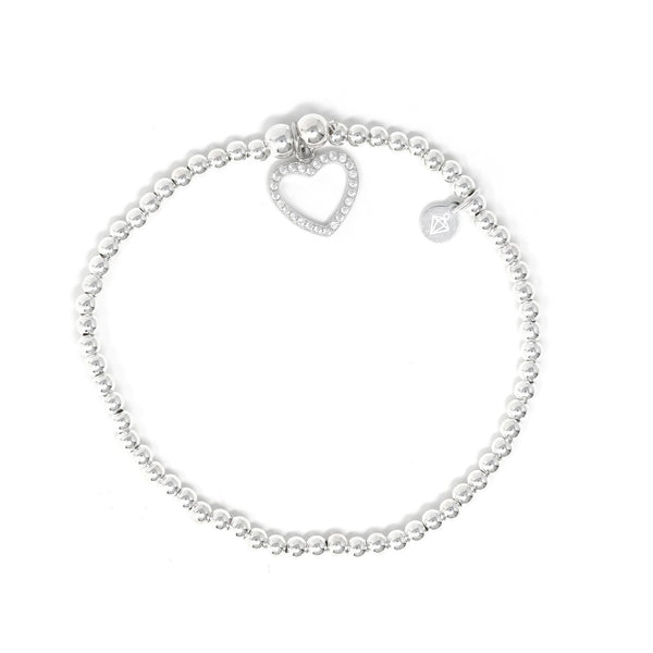 Sterling Silver - Heart Bracelet with CZ Stones - SayItWithDiamonds.com