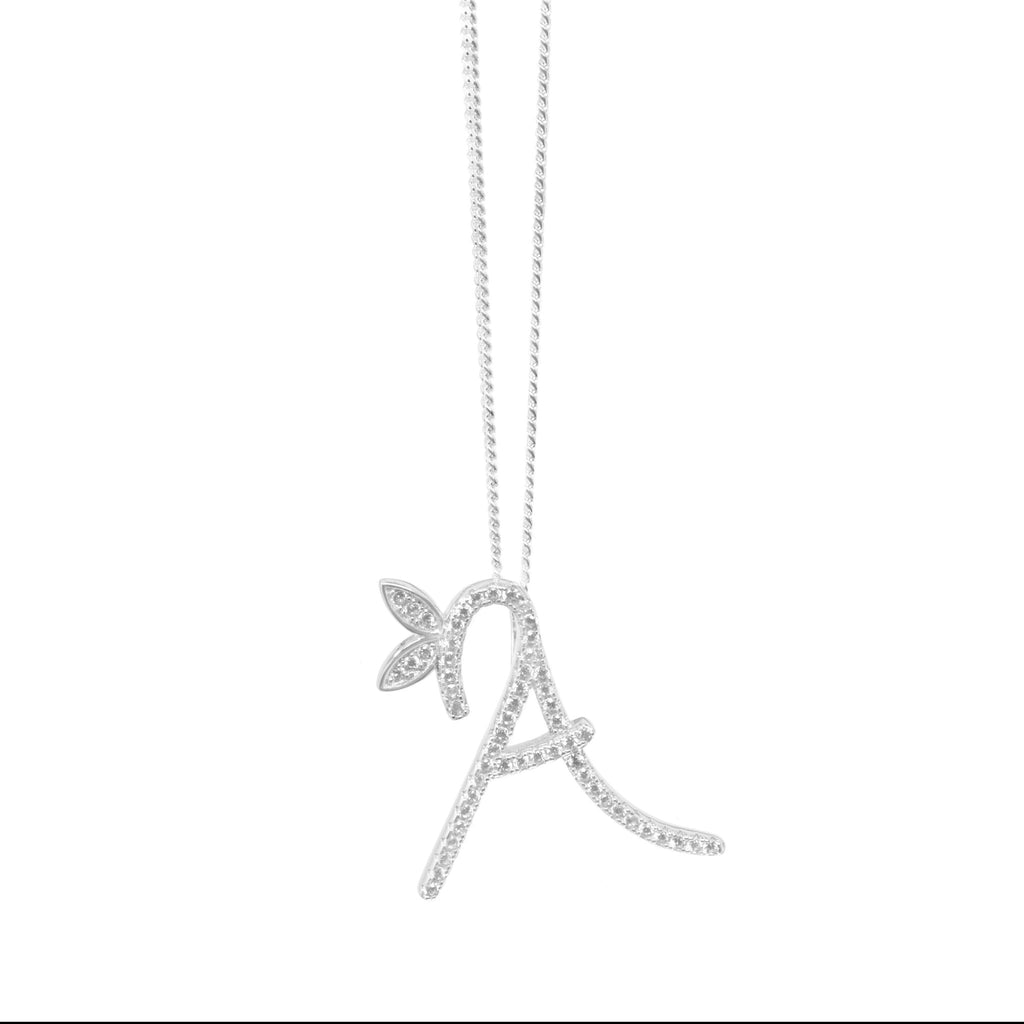 Sterling Silver Initial Necklace - Full CZ Stones - SayItWithDiamonds.com