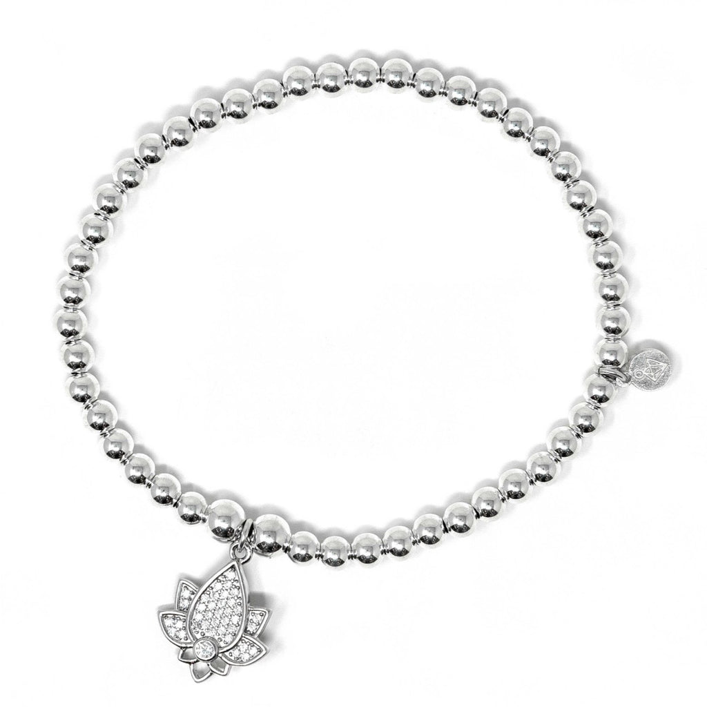 Sterling Silver - Lotus Flower Bracelet with CZ Stones - SayItWithDiamonds.com