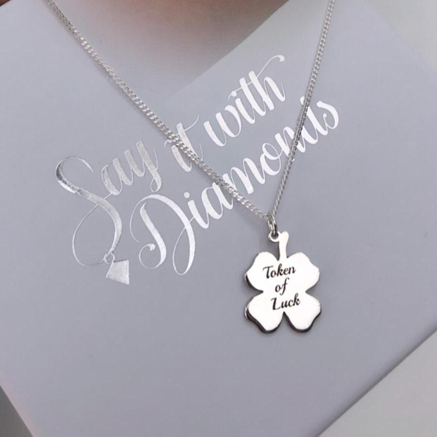 Sterling Silver Necklace with Clover Pendant - SayItWithDiamonds.com