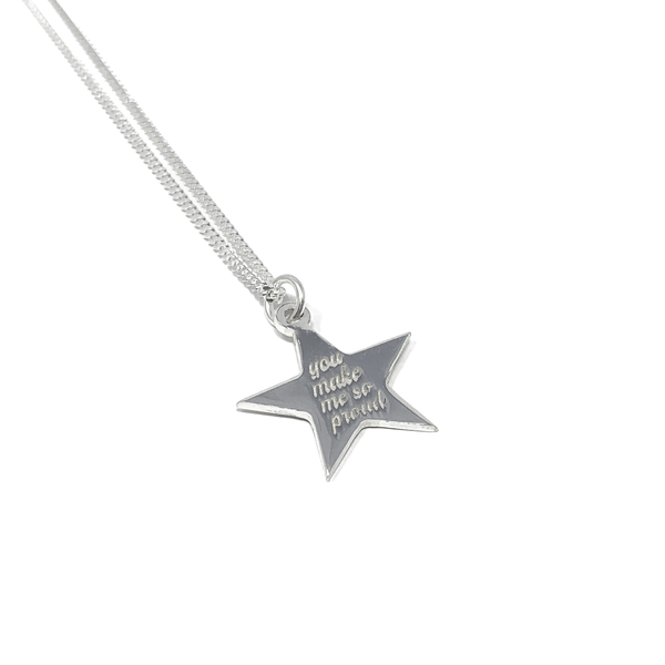 Sterling Silver Necklace with Star Pendant - SayItWithDiamonds.com