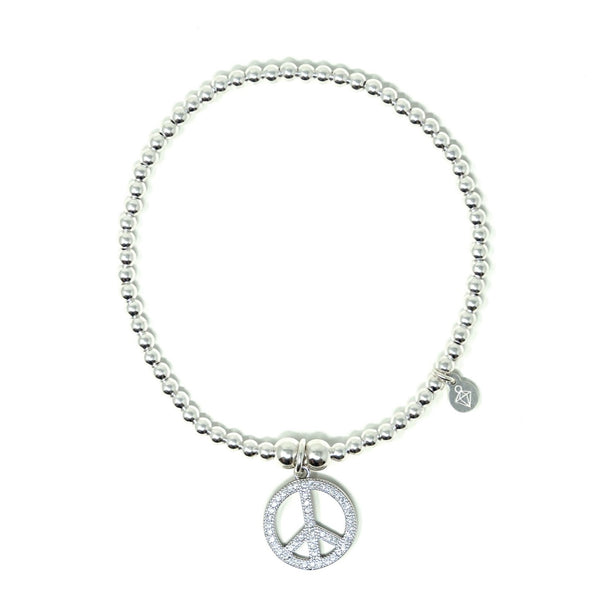 Sterling Silver - Peace Bracelet with CZ Stones - SayItWithDiamonds.com
