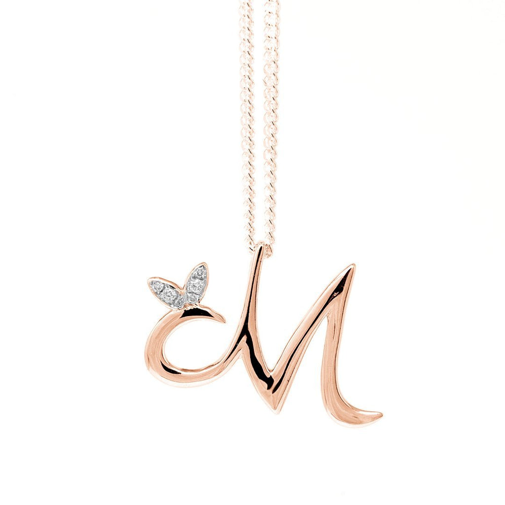 Sterling Silver Rose Gold Plated - Winged Initial Necklace - SayItWithDiamonds.com