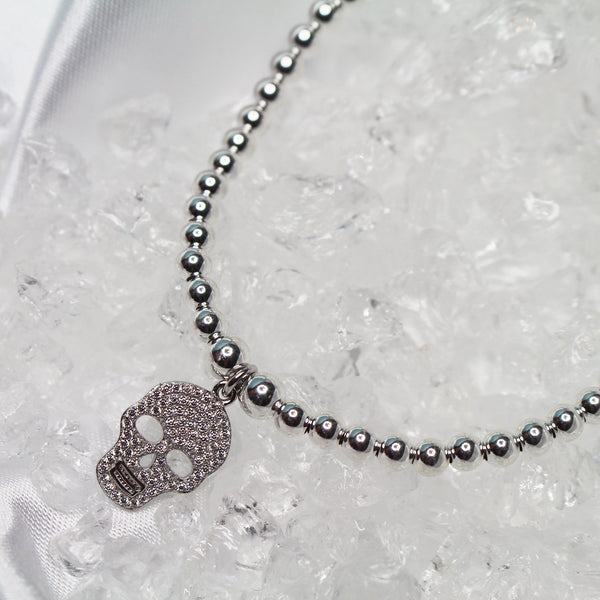 Sterling Silver - Skull Bracelet with CZ Stones - SayItWithDiamonds.com