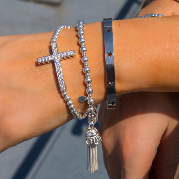 Sterling Silver - Thin Tassel Bracelet - SayItWithDiamonds.com