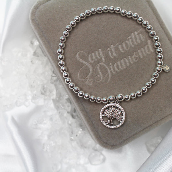 Sterling Silver - Tree of Life Bracelet - SayItWithDiamonds.com
