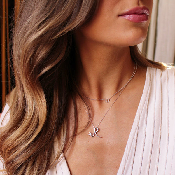 Sterling Silver - Winged Diamond Initial Necklace - SayItWithDiamonds.com
