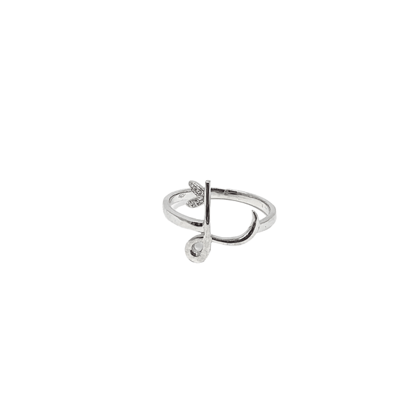 Sterling Silver - Winged Diamond Initial Ring - SayItWithDiamonds.com
