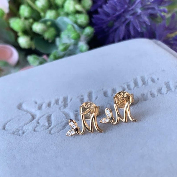 Winged Initial Earring Pair - Sterling Silver 18ct Gold Plating - SayItWithDiamonds.com