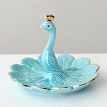Load image into Gallery viewer, Blue Peacock Phnom Penh Jewelry Storage Tray Ceramic Crafts - Targen