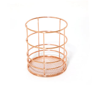 Rose Gold Iron Art Makeup Organizer Metal Basket - Targen