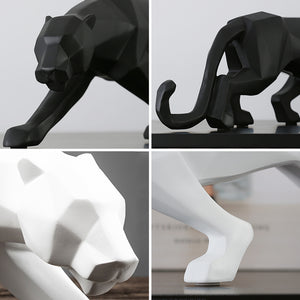 Modern Abstract Black and White Geometric Leopard Statue Animal Figurine - Targen