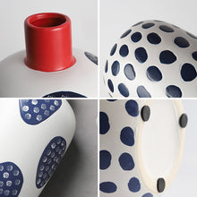Load image into Gallery viewer, Nordic Danish Red And Blue Handmade Painted Ceramic Vase - Targen