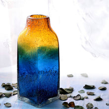 Load image into Gallery viewer, Handicraft Art Glass Vase Blue And Yellow Glass Flower Vase - Targen
