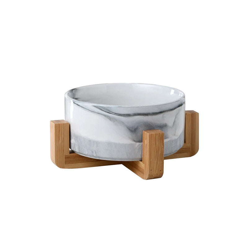 Pet Ceramic Elevated Raised Cat Bowl With Wood Stand Dogs Feeding Bowl - Targen