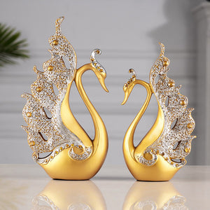 2 Pcs Swan Statue Sculpture Modern Art Ornaments Wedding Gifts - Targen