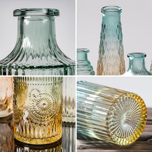 New Retro Embossed Glass Vase Desktop Small Flower Art Decoration - Targen