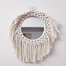 Load image into Gallery viewer, Nordic Makeup Mirror Handmade Macrame Tapestry Wall Hanging - Targen