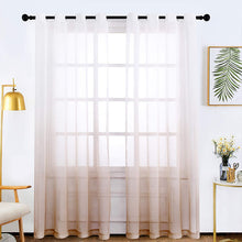 Load image into Gallery viewer, Faux Linen Sheer Curtains Semi Sheer Curtains for Bedroom Living Room Set of 2 Curtain Panels - Targen