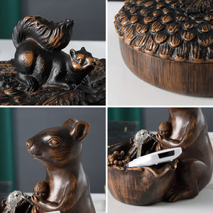 Resin Squirrel Nut Bowl Snack Storage Serving Dish Tissue Box - Targen