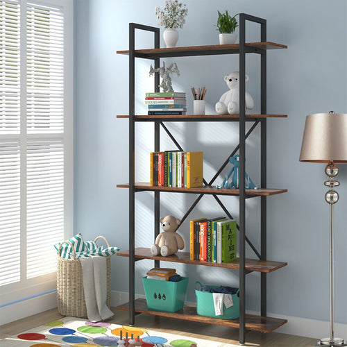 5-Tier Industrial Bookshelves Storage Display Shelves