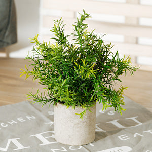 Mini Potted Plastic Fake Green Plant Bamboo Leaf For Home Decor - Targen
