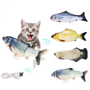 Realistic Plush Simulation Electric Doll Fish Flop Cat Toy - Targen